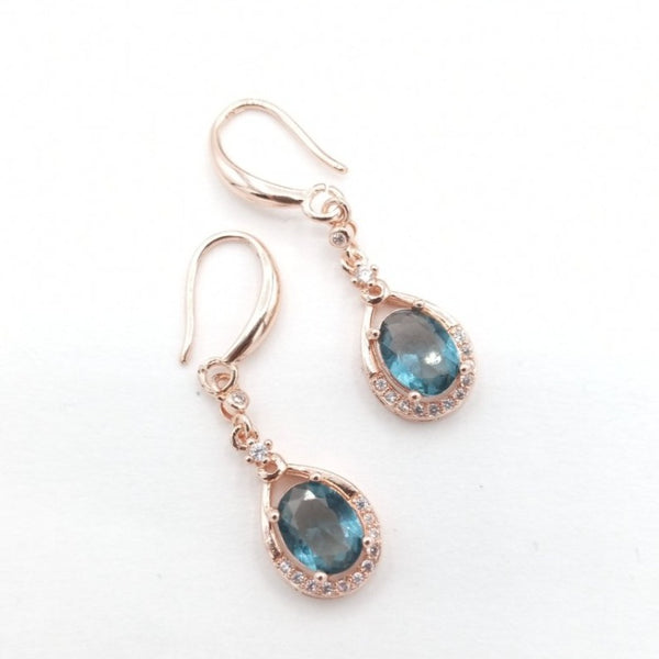 Teal Stone - Rose Gold Earring