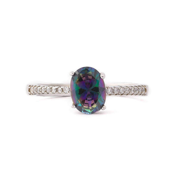 Oval Multicolor Stone With Microstone Band Sterling Silver Ring