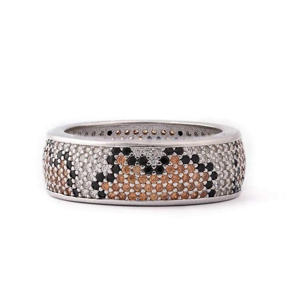 Mosaic Style Sterling Silver Stone Band