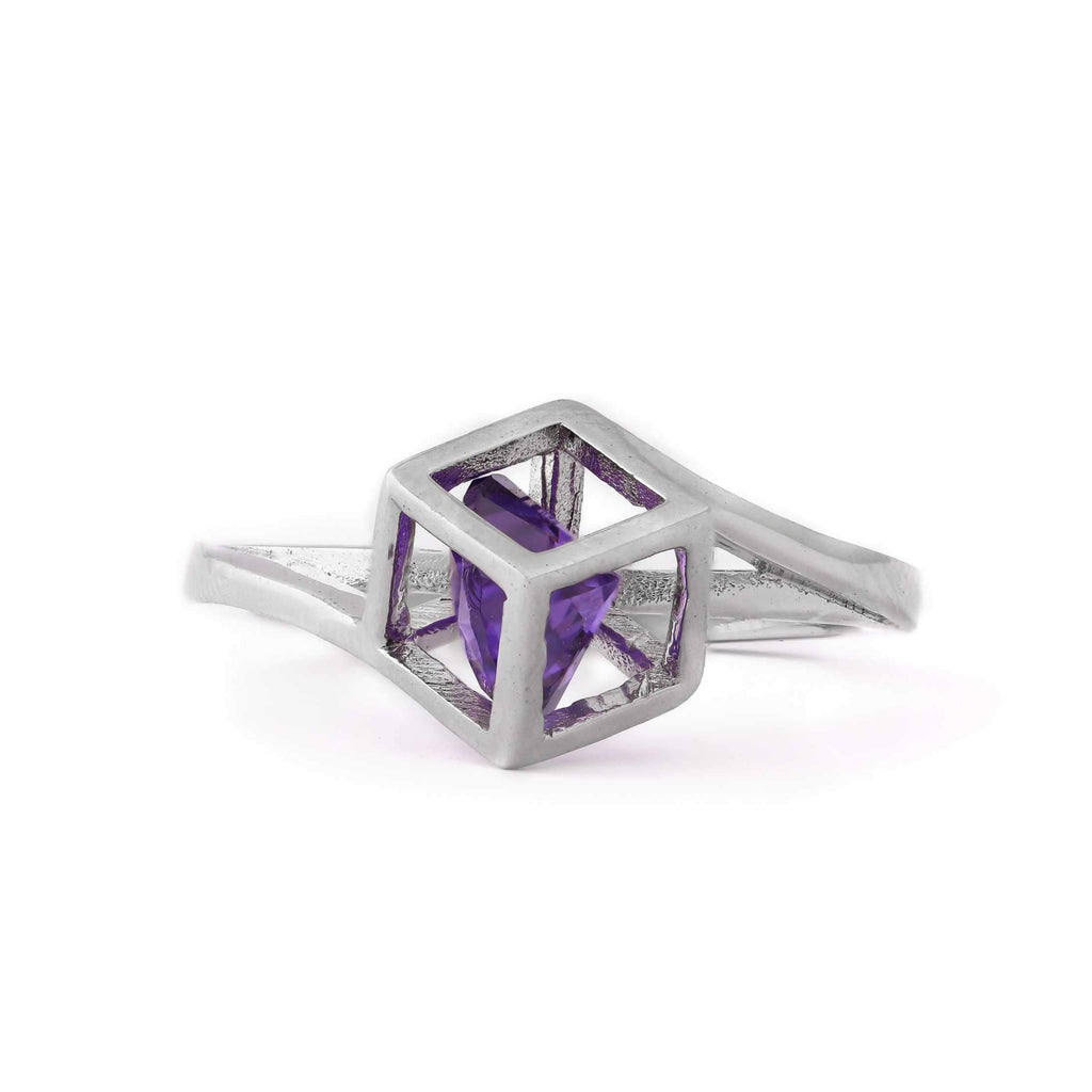 Lavender Stone Trapped Cube Sterling Silver Ring