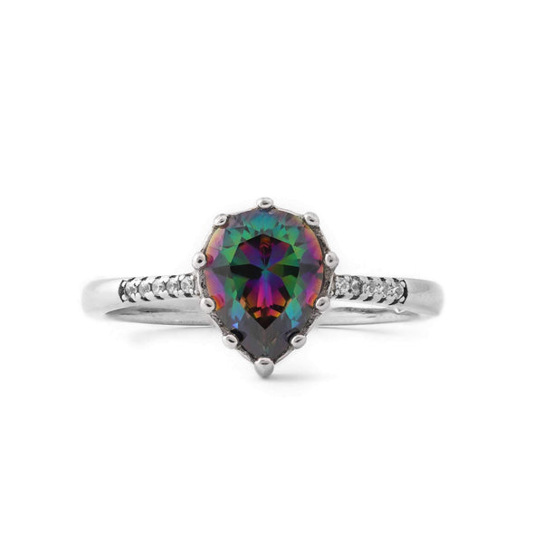Multicolor Spade Stone Sterling Silver Ring
