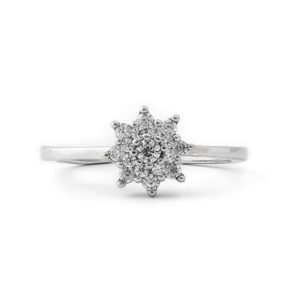 White Floral Sterling Silver Ring