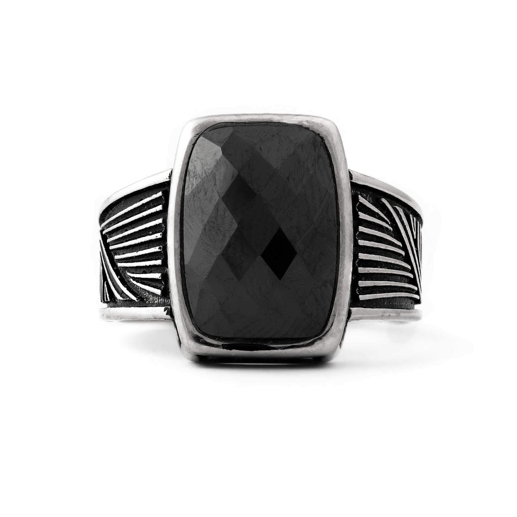 Black Stone With Antique Side Sterling Silver Mens Ring
