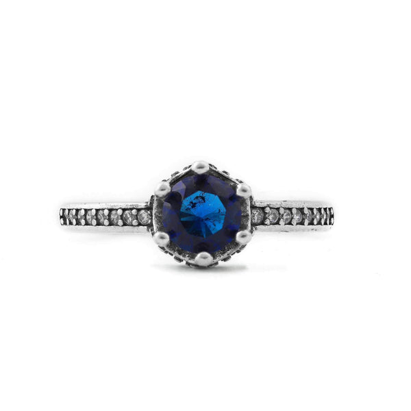 Royal Blue Stone Crown Style Sterling Silver Ring