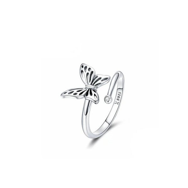 Silver Vintage Butterfly Adjustable Finger Rings