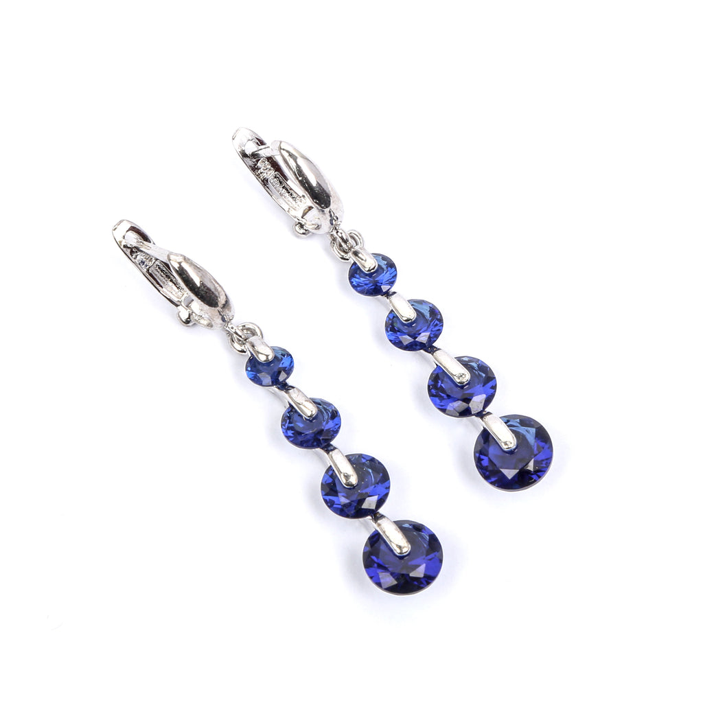 Blue Opal Sequence Stone Sterling Silver Earring