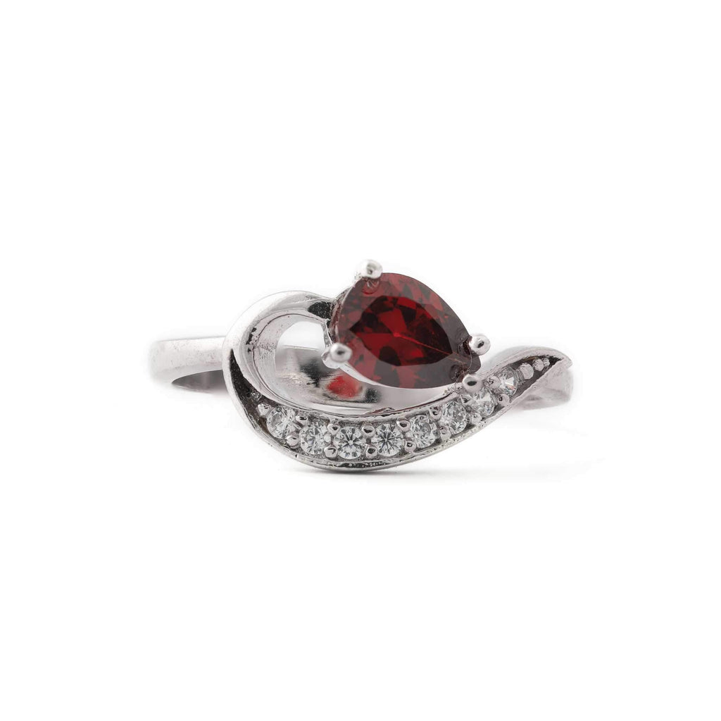Red Spade Stone With Microstone Stem Sterling Silver Ring