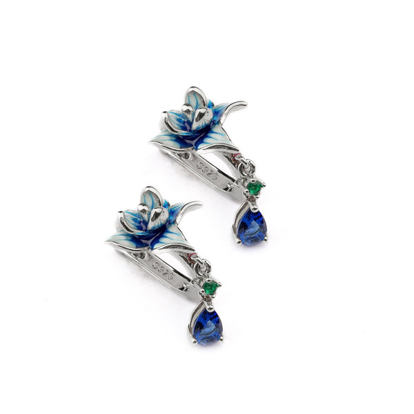 Blue Floral Sterling Silver Earring