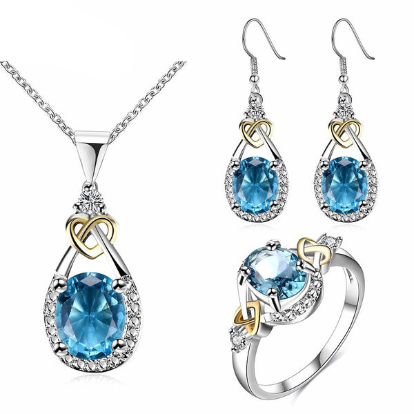 Blue Stone Vintage Bridal Ring Earring And Necklace Sets Cubic Zirconia