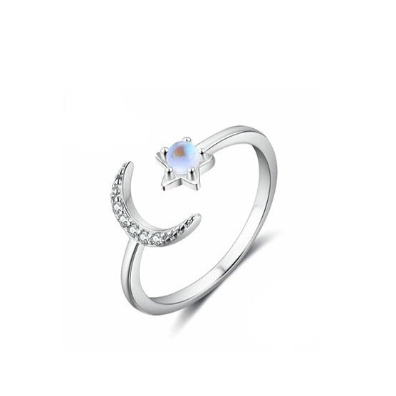 Sterling Silver Crescent Moon And Star Ring Moonstone Ring with Zircon Open Adjustable Ring