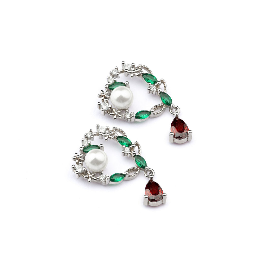 Red & Green Dual Color Sterling Silver Earring With Pearl