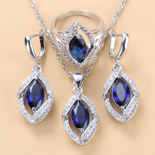 Natural Stone CZ Blue Pendant, Earring And Ring Sets