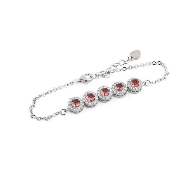Red Round Stone Sterling Silver Bracelet