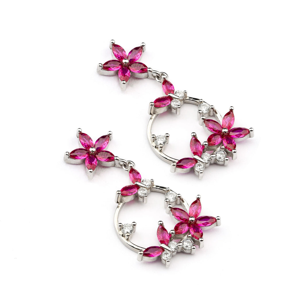 Rose Pink Floral Design Sterling Silver Earring
