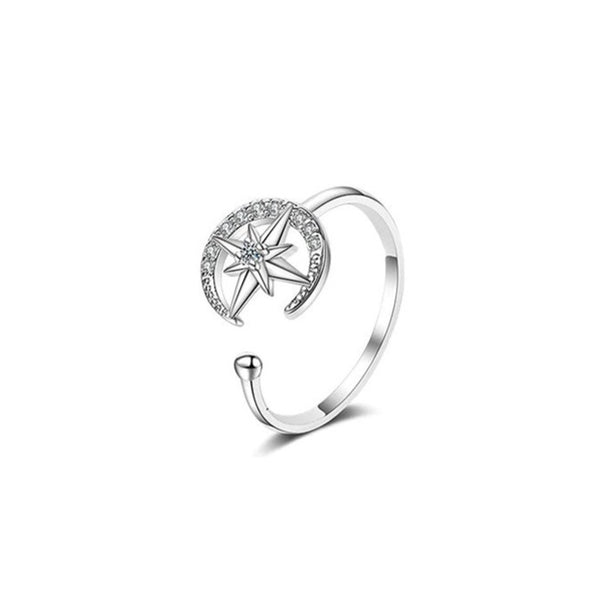 Zircon Star Moon Open Ring Size Adjustable Ring