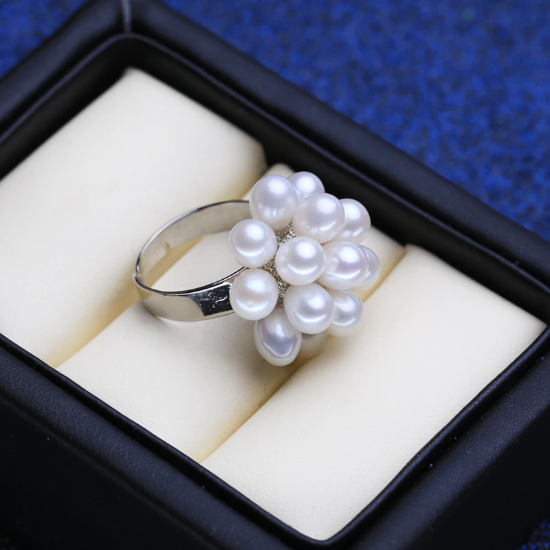 Pearls Natural Freshwater Pearl Rings For Women Handcrafted Female 925 Sterling Silver Party Ring
