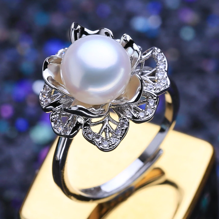 925 Sterling Silver Ring Luxury Natural Freshwater Pearl Rings For Women Female Party Wedding Fine Jewelry