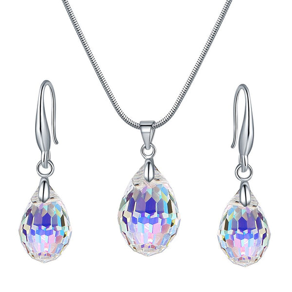 Round Crystal From Swarovski Set Necklace Drop Earrings For Women Jewelry Sets Wedding Party
