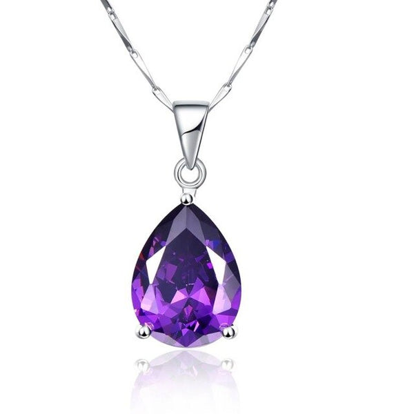 Necklace Pearl Cut Waterdrop Amethyst Pendant