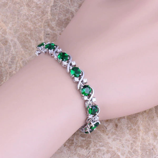 Green Cubic Zirconia White CZ Silver Plated Link Chain Bracelet