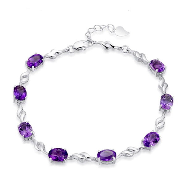 Oval Shaped Amethyst Bracelet