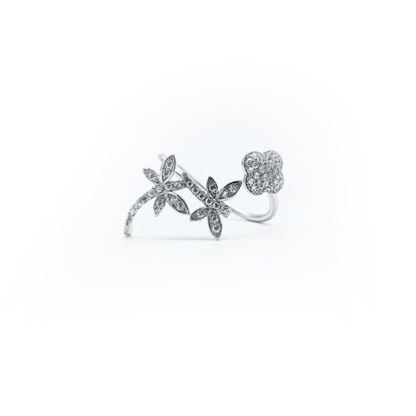 Double Flower Adjustable Ring
