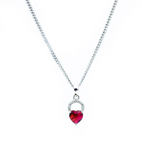 Red Heart Shape Stone Pendant