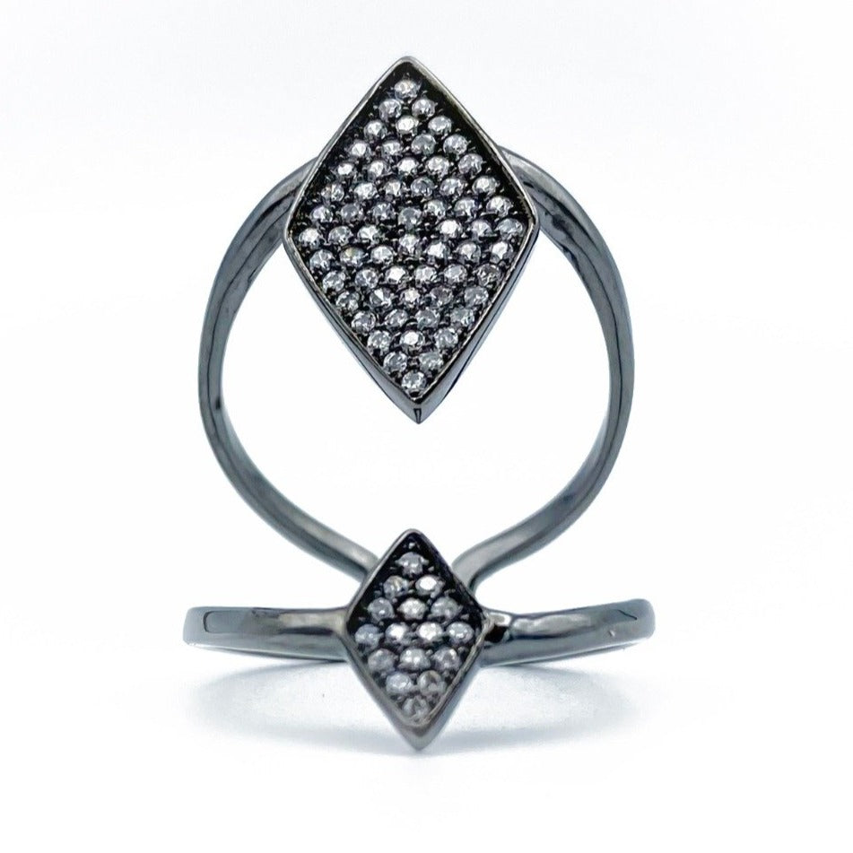 Diamond Shape Adjustable Ring - Shining Black