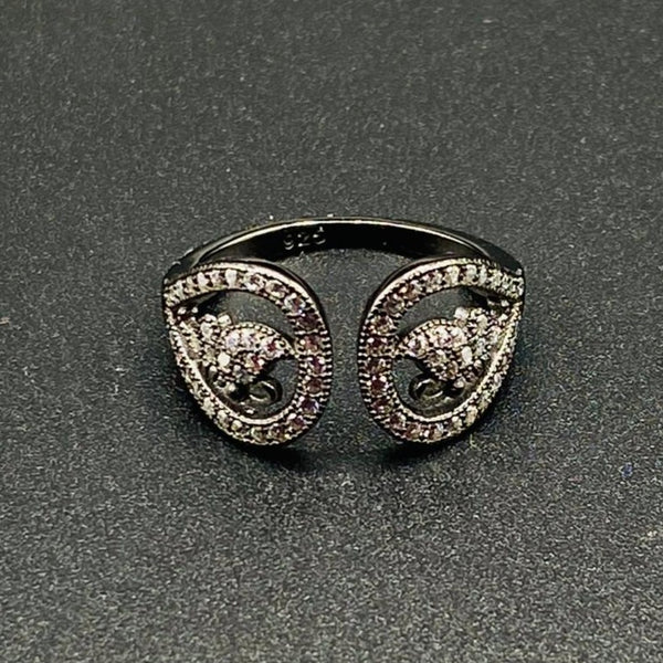 Eternal Flower Adjustable Ring - Black Shining