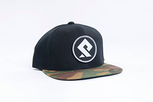 PULLSPORT PATCH HAT - BLACK with CAMO BILL Wakeboard Waterski Apparel