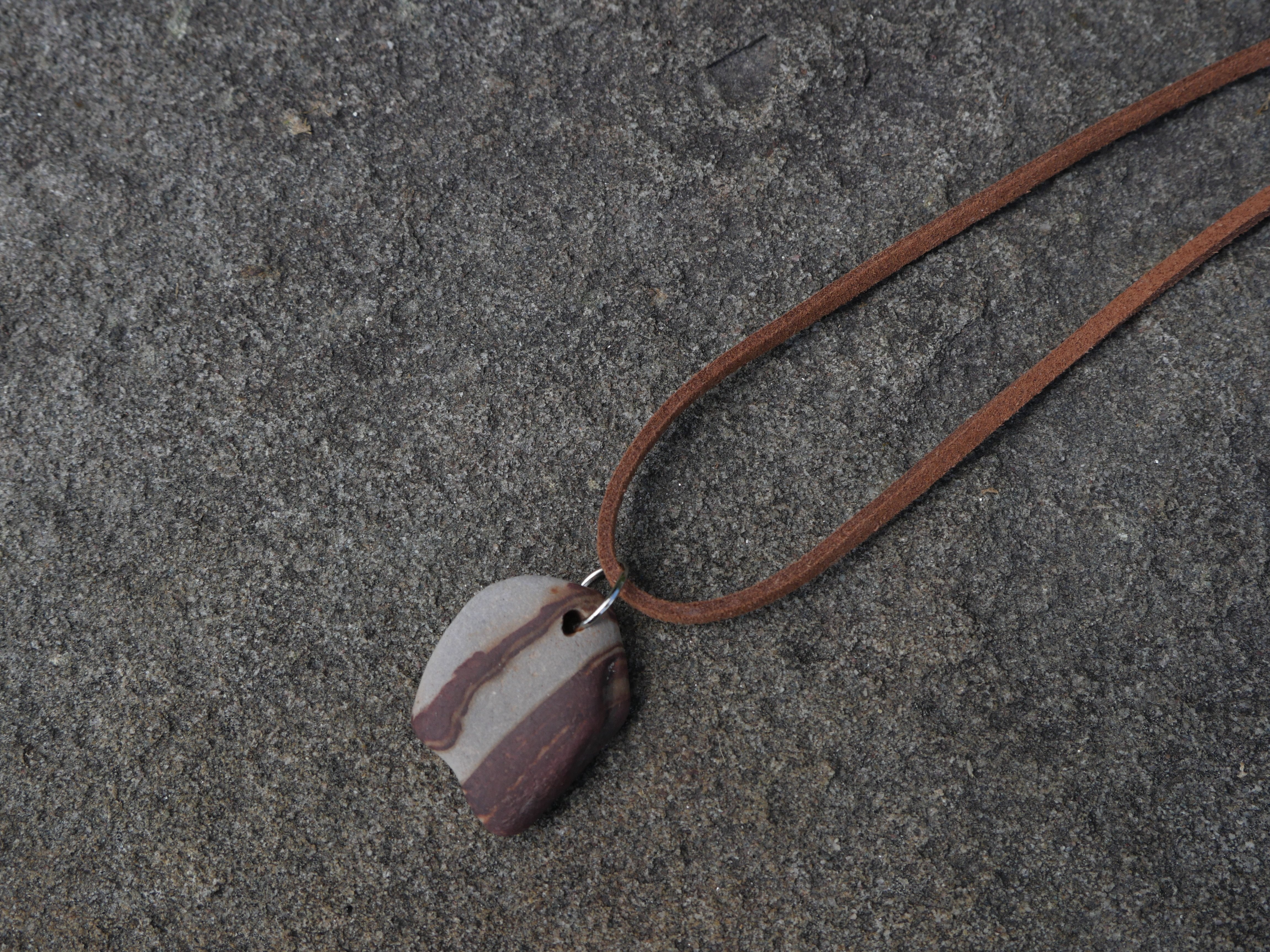 Grey brown striped stone suede necklace