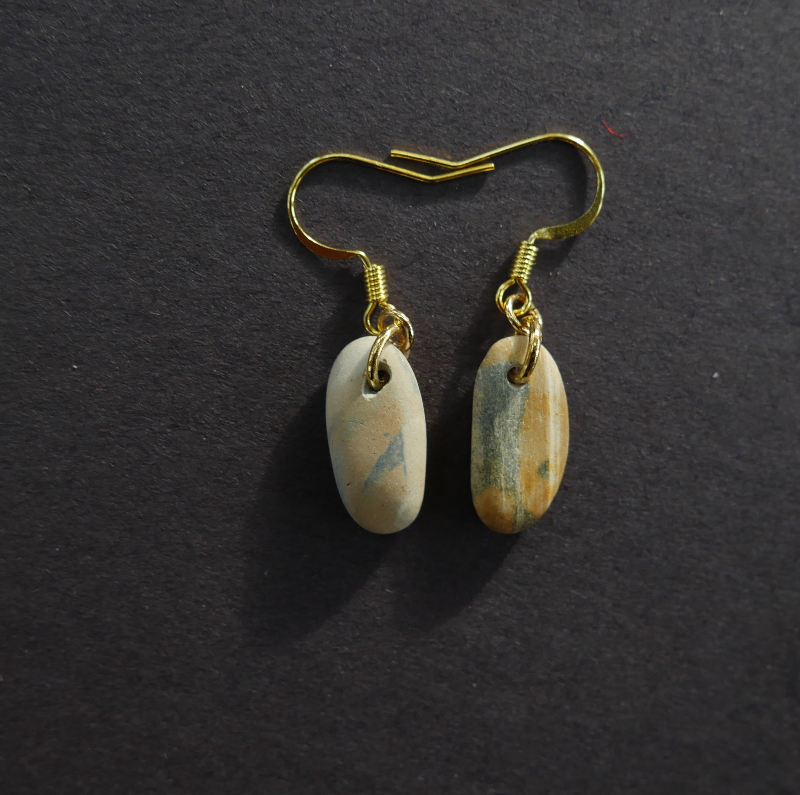 Blue yellow complementary stone earrings