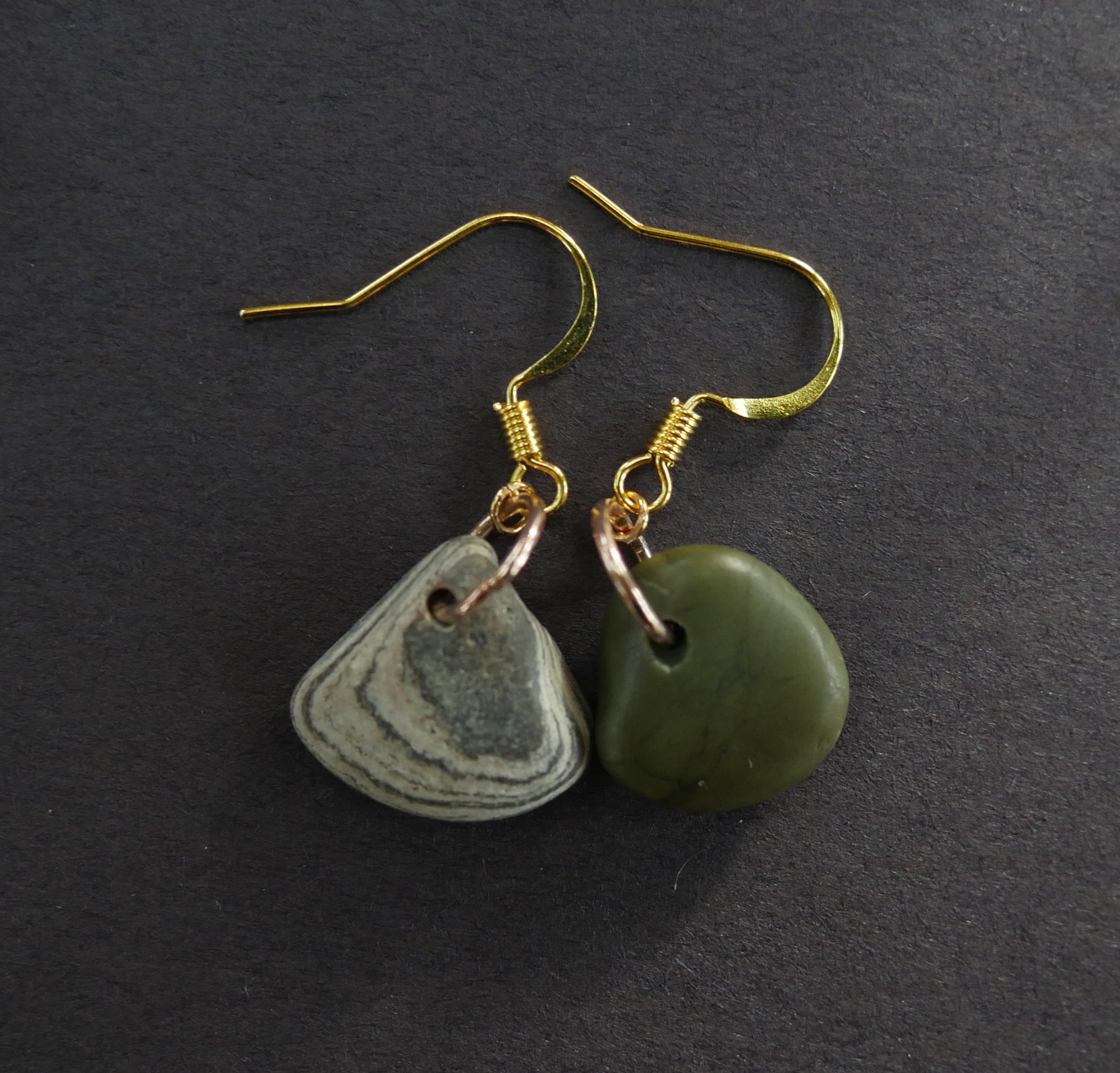 Complementary green and striped stone earrings