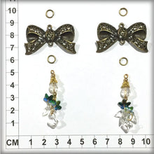 Load image into Gallery viewer, CH1002 2 Bow Charms + 4 Jump Rings + 2 Hanging Gems