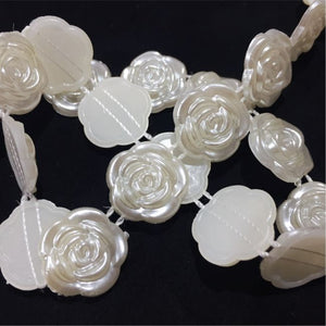 PB007- Ivory Flat Back Pearl Flower Trim