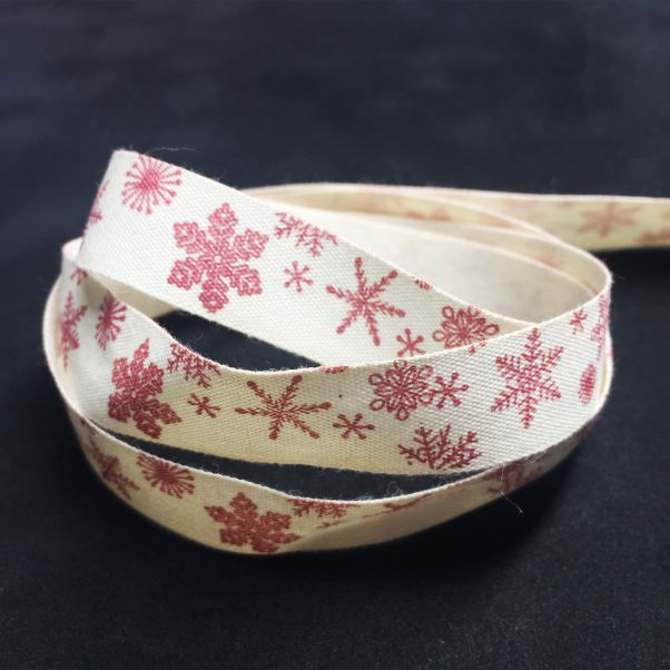 RB002 Red Snowflakes Ribbon
