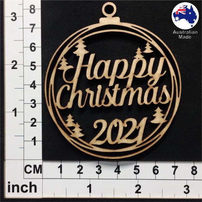 WS1030 Happy Christmas Bauble with Trees and 2020