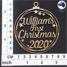 Load image into Gallery viewer, WS2009 First Christmas Bauble 01 with Stars or Circles & Custom Name with 2020