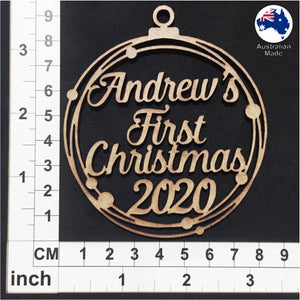 WS2009 First Christmas Bauble 01 with Stars or Circles & Custom Name with 2020