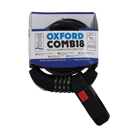 OXFORD LK689 COBRA CABLE COMBI LOCK (8MMX180CM)