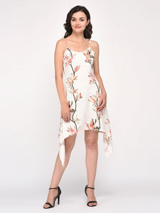 Off White Floral Print Noddle Straps Dress