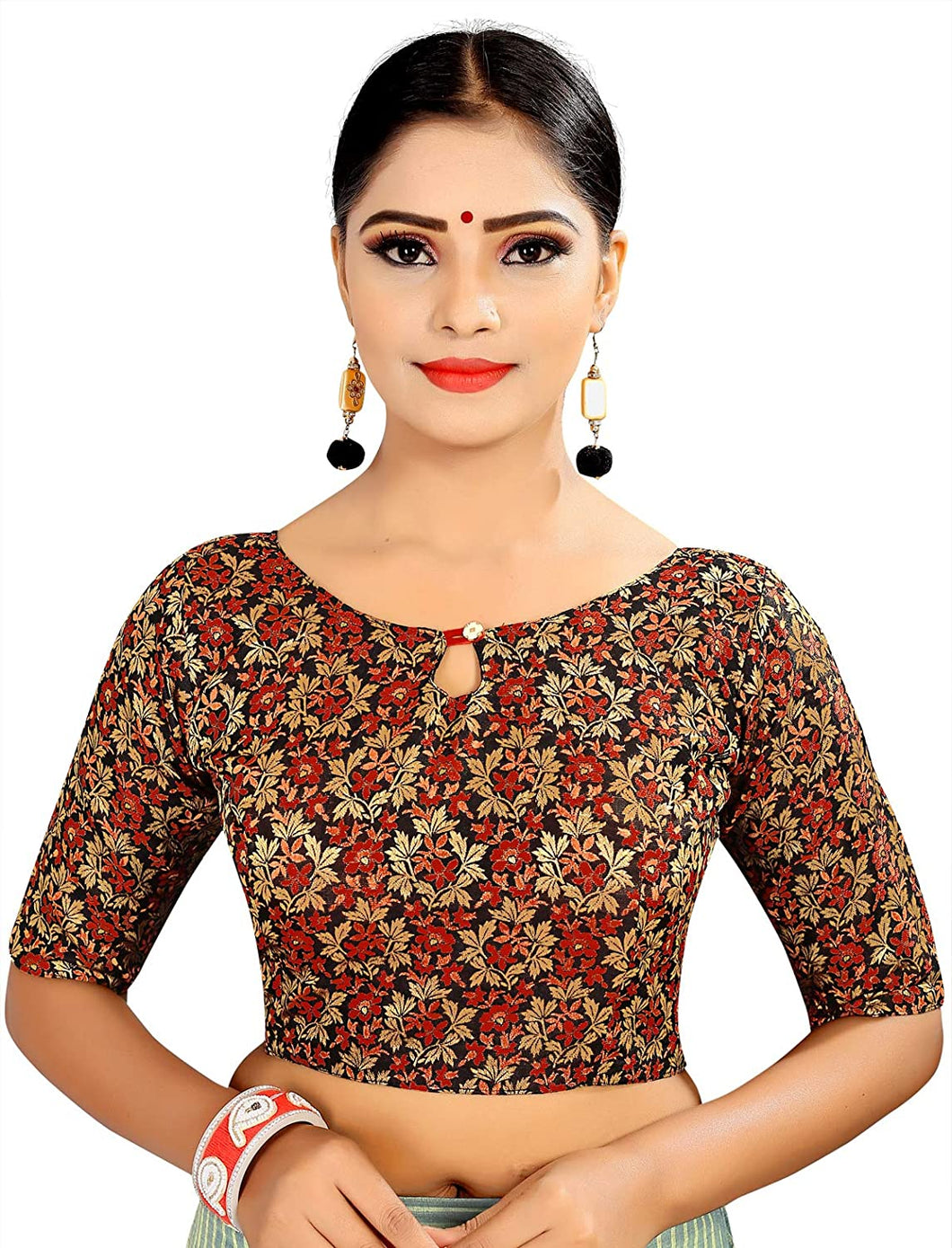 Women's Brocade & Georgette Readymade Saree's Blouse