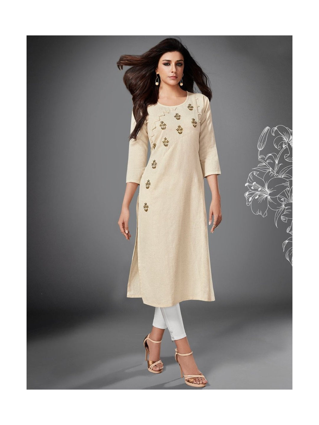 Off White Side Slit Cotton Kurta