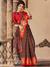 Load image into Gallery viewer, Brown Cotton Silk Printed Saree