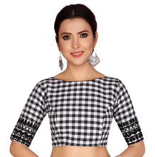 Load image into Gallery viewer, Women's Black And White Checks Pure Cotton Stitched Saree Blouse With Embroidered Sleeves