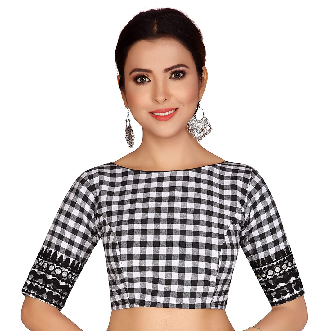 Women's Black And White Checks Pure Cotton Stitched Saree Blouse With Embroidered Sleeves