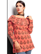 Load image into Gallery viewer, Rola Crazy Orange Rayon Cotton Off Shoulder Printed Top