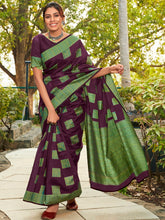 Load image into Gallery viewer, Wine Cotton Silk Printed Saree
