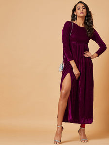 Wine Front Slit Maxi Dress