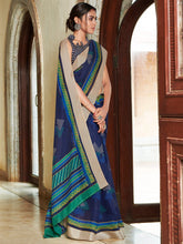 Load image into Gallery viewer, Navy Blue Printed Saree